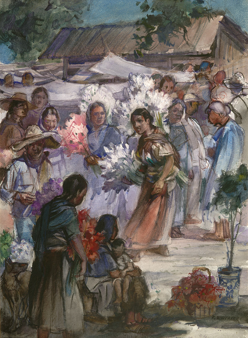 """Flower Market, Xochimilco"" 1977 © Frederic Whitaker 22x30 inches Watercolor"