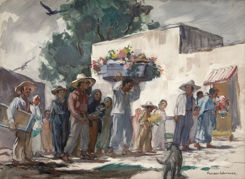 """The Young Die Often""  1949 © Frederic Whitaker 14x30 inches Watercolor"