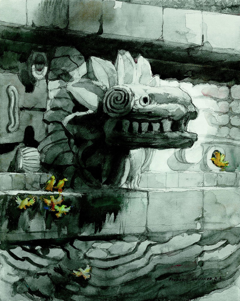 """Quetzalcoatl"" 1970 © Frederic Whitaker 28x23 inches Watercolor"