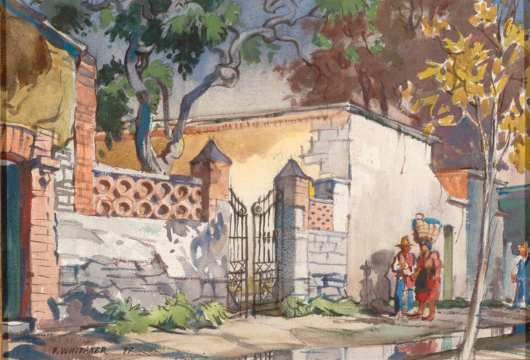 """Street in Cuernavacca"" © (date unknown) Frederic Whitaker 11x15 inches Watercolor"
