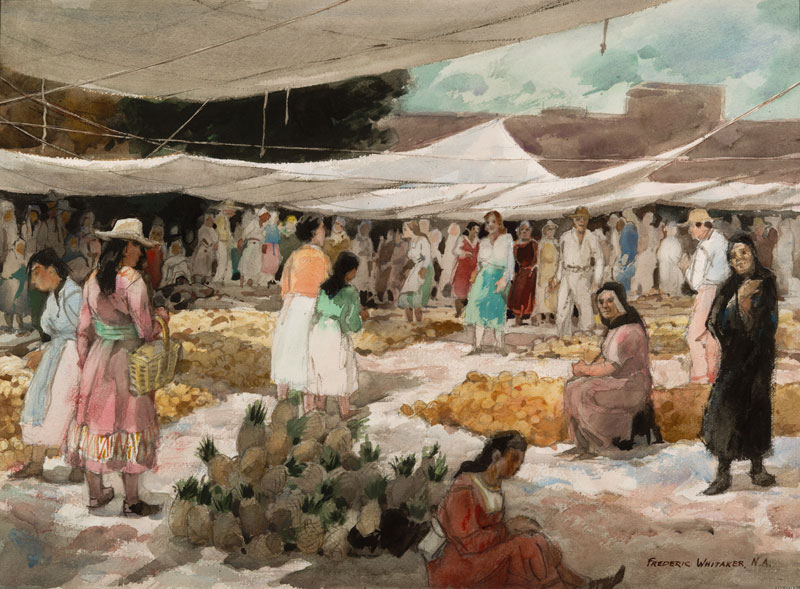 """The Fruit Market"" 1969 © Frederic Whitaker 22x30 inches Watercolor"