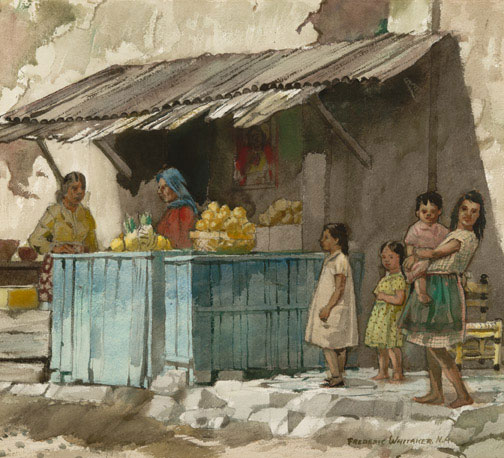 """The Fruit Stand Cuernavaca"" 1946 © Frederic Whitaker 22x24.5 Watercolor"