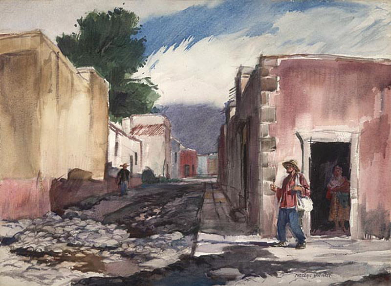"""The Street of San Idelfonso""  1953 © Frederic Whitaker 22x30 inches Watercolor"