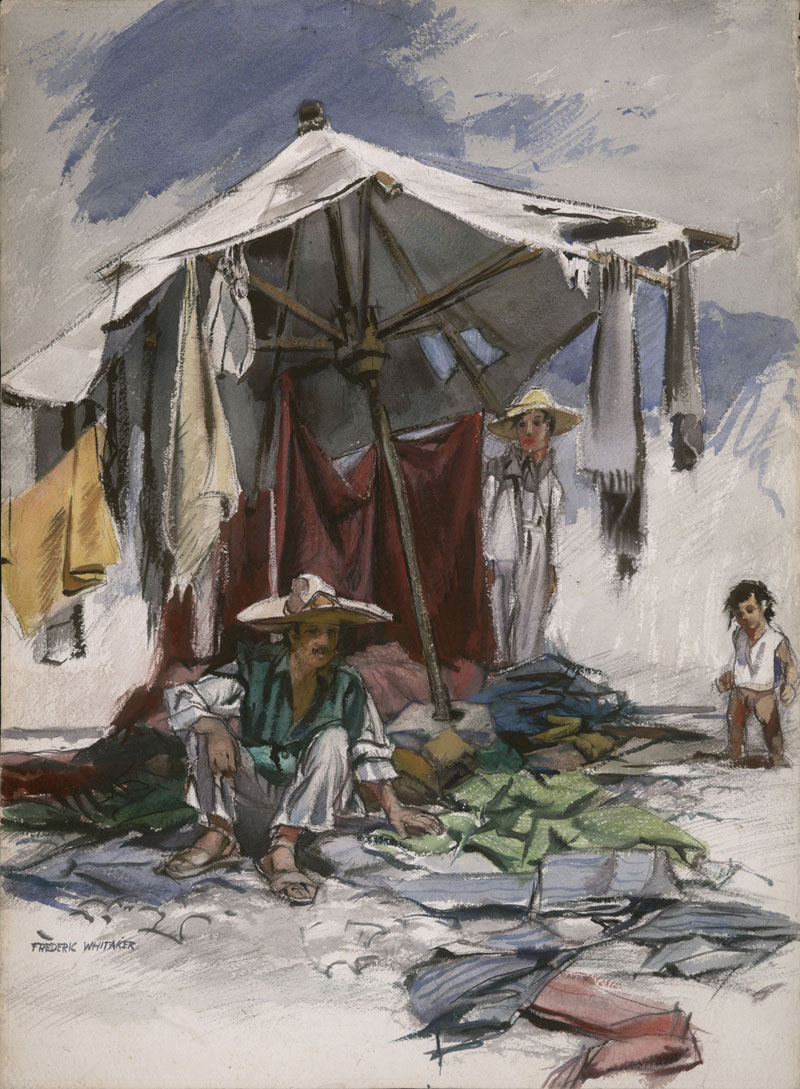 """Yard Goods"" 1950 © Frederic Whitaker 22x30 inches Watercolor"