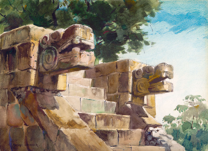 """Altar Guardians - Tigers at Uxmal"" 1953 © Frederic Whitaker 22x30 inches Watercolor and Graphite"