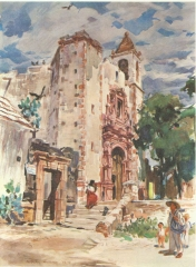 """17th Century Relic #1""  St. Anthony's Church, San Miguel de Allende, Mexico 1953 © Frederic Whitaker 22x30 inches Watercolor and Gouacheon Board"