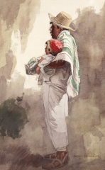 """The First Born""  1971 © Frederic Whitaker 30x18 inches Watercolor"