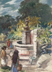 """Padilla Fountain, San Miguel de Allende"" 1950 © Frederic Whitaker 22x30 inches Watercolor"