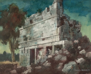 """Relic of the Past - Chichenitza"" © Frederic Whitaker (date and size unknown) Watercolor"