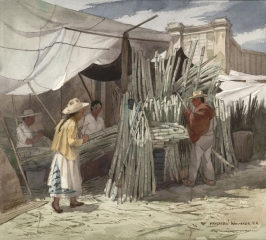 """Sugar Cane for Sale 1973-© Frederic Whitaker 22x24.50 inches Watercolor"