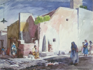 """Village Fountain #2 San Miguel 1954 © Frederic Whitaker 22x30 inches Watercolor"