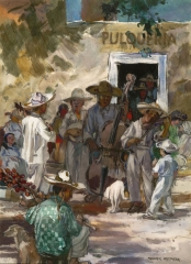 """The Street SIngers"" 1949 © Frederic Whitaker 22x30 inches Watercolor"