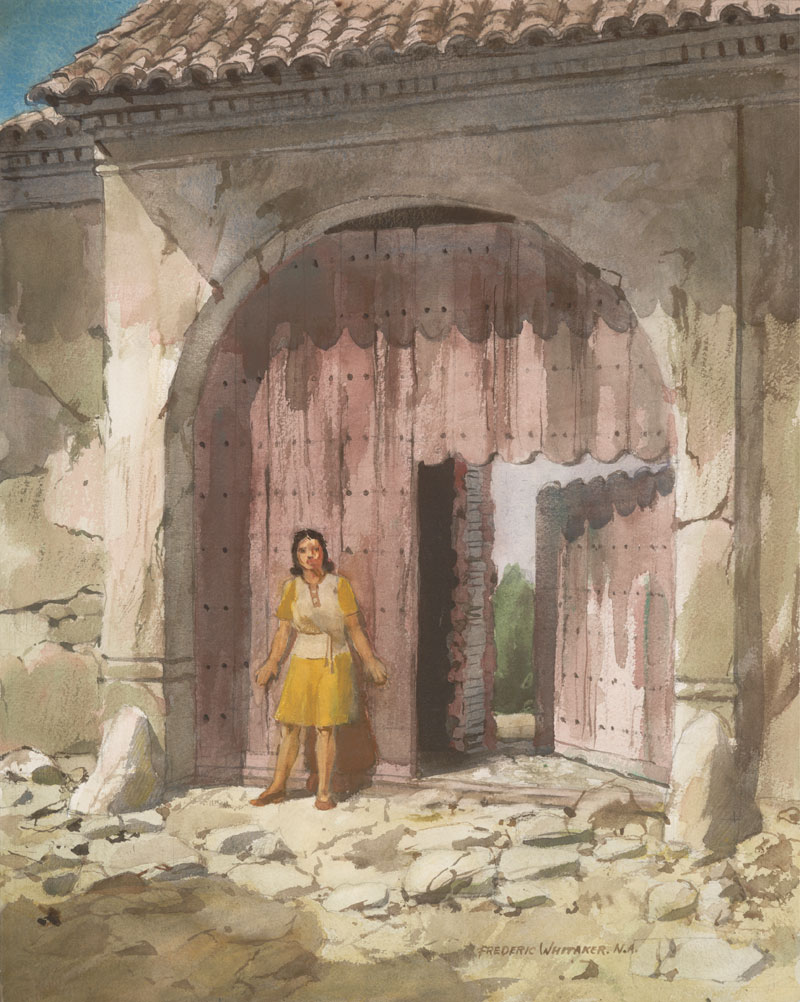 """Guardian of the Ruin""  1973 © Frederic Whitaker  22x27.5 inches Watercolor"