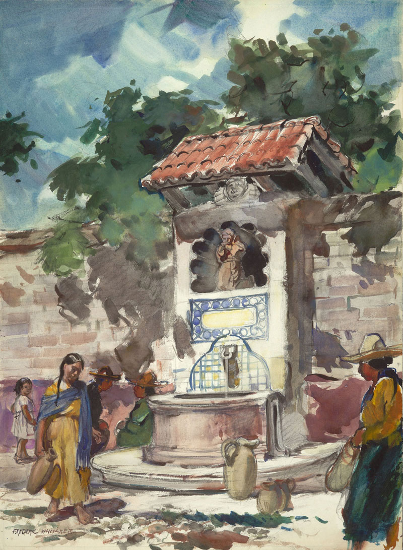 """Memorial Fountaion, San Miguel 1949 © Frederic Whitaker 30x22 inches Watercolor"