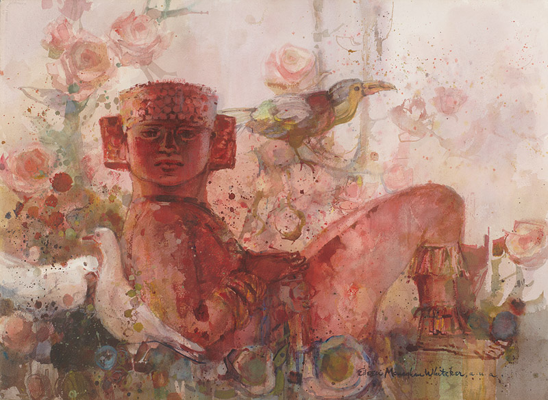 """Chac Mool #3"" 1968 © Eileen Monaghan Whitaker 22x30 inches"