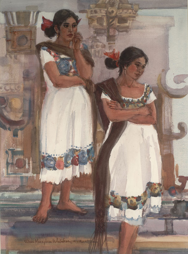 """Mayan Girls at the Temple"" 1979 © Eileen Monaghan Whitaker (size unknown) Watercolor"