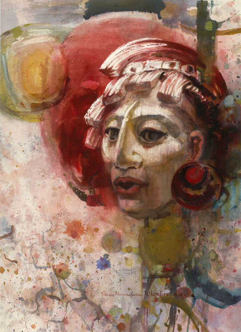 """Mayan Warrior"" 1967 © Eileen Monaghan Whitaker 30x22 inches watercolor"