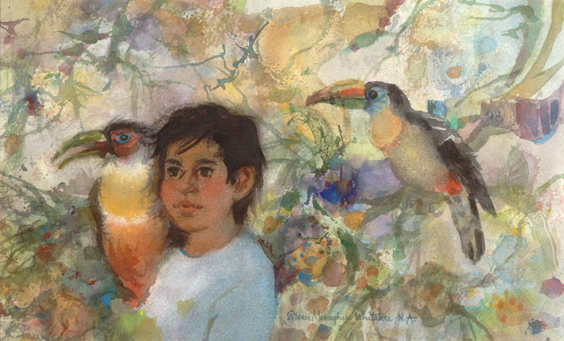 """Nino Con Sus Toucans"" 1989 © Eileen Monaghan Whitaker (size unknown) Watercolor"
