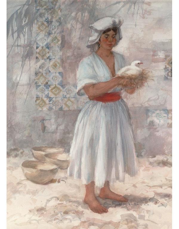 """""""Oaxaca Woman"""" © Eileen Monaghan Whitaker Watercolor"""