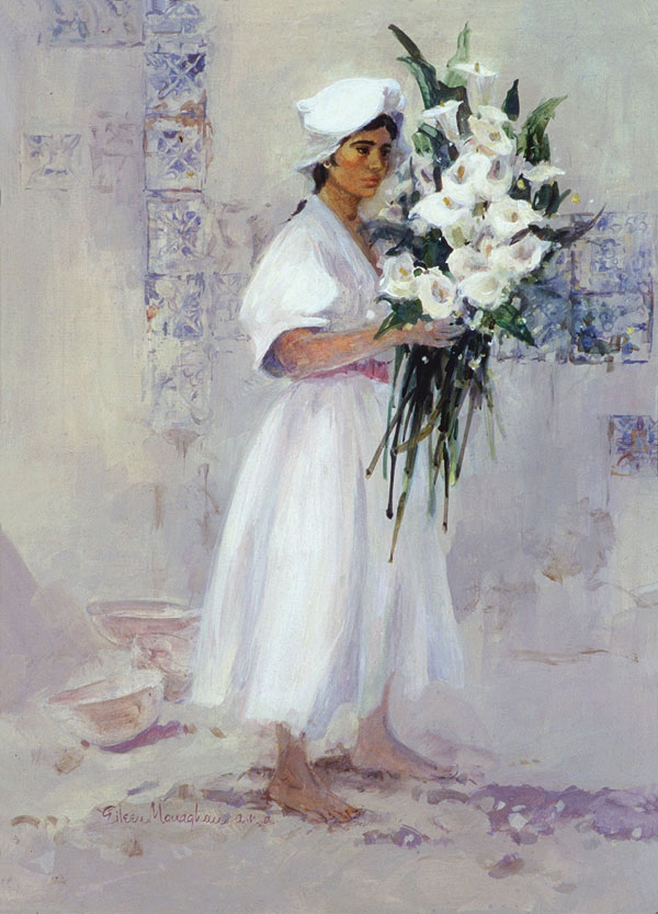 """""""Study In Whites"""" 1964 © Eileen Monaghan Whitaker 24x18 inches acrylic"""