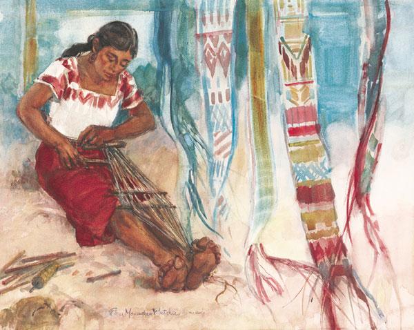 """""""Weaver of Belts"""" © Eileen Monaghan Whitaker Watercolor"""