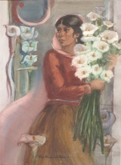 """Lilies from the Market"" 1981 © Eileen Monaghan Whitaker 30x22 inches Watercolor"