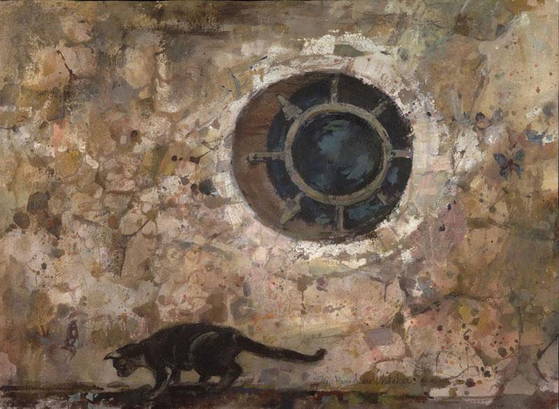 """Window at Black Cat Market"" 1967 © Eileen Monaghan Whitaker full sheet watercolor"