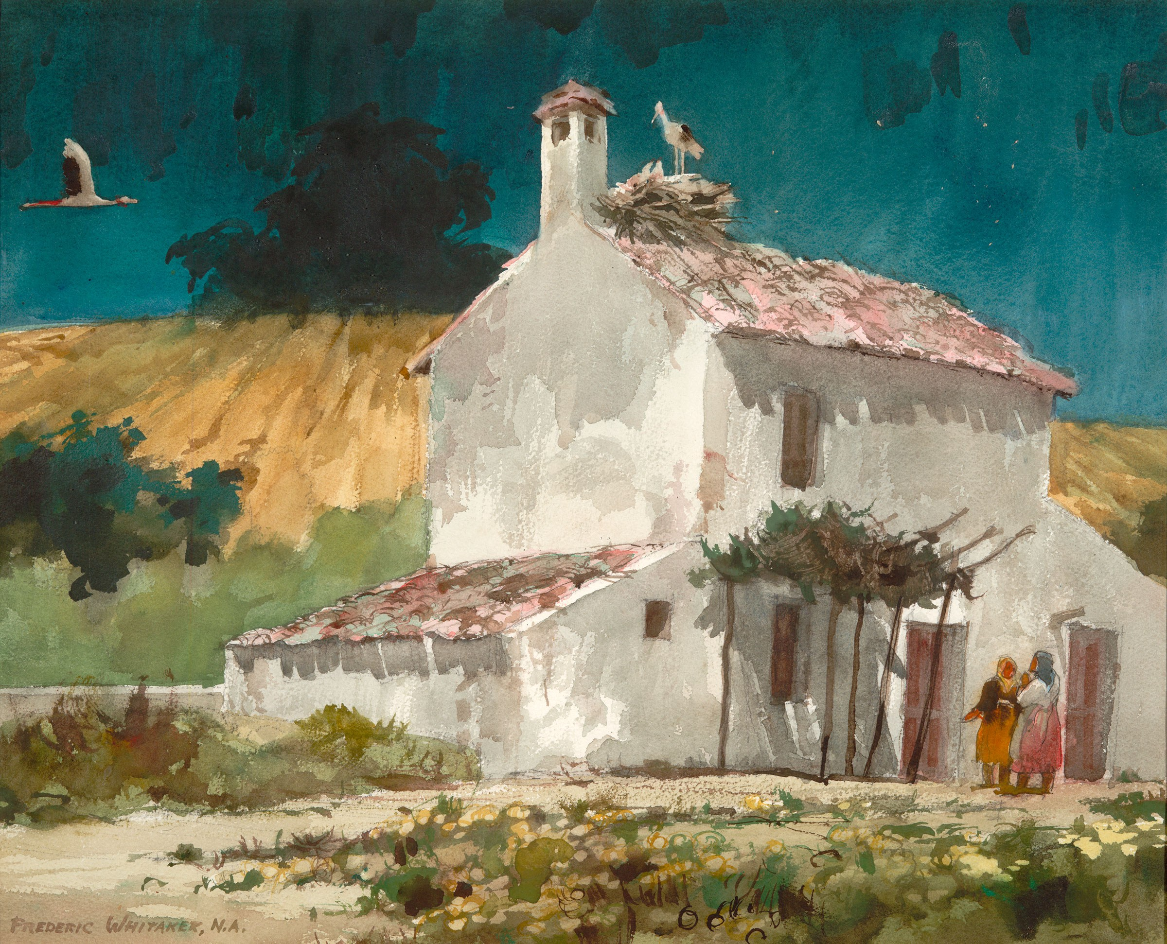 """""""Home in Andalusia"""" 1969 © Frederic Whitaker N.A.  22x27.5 inches Watercolor"""