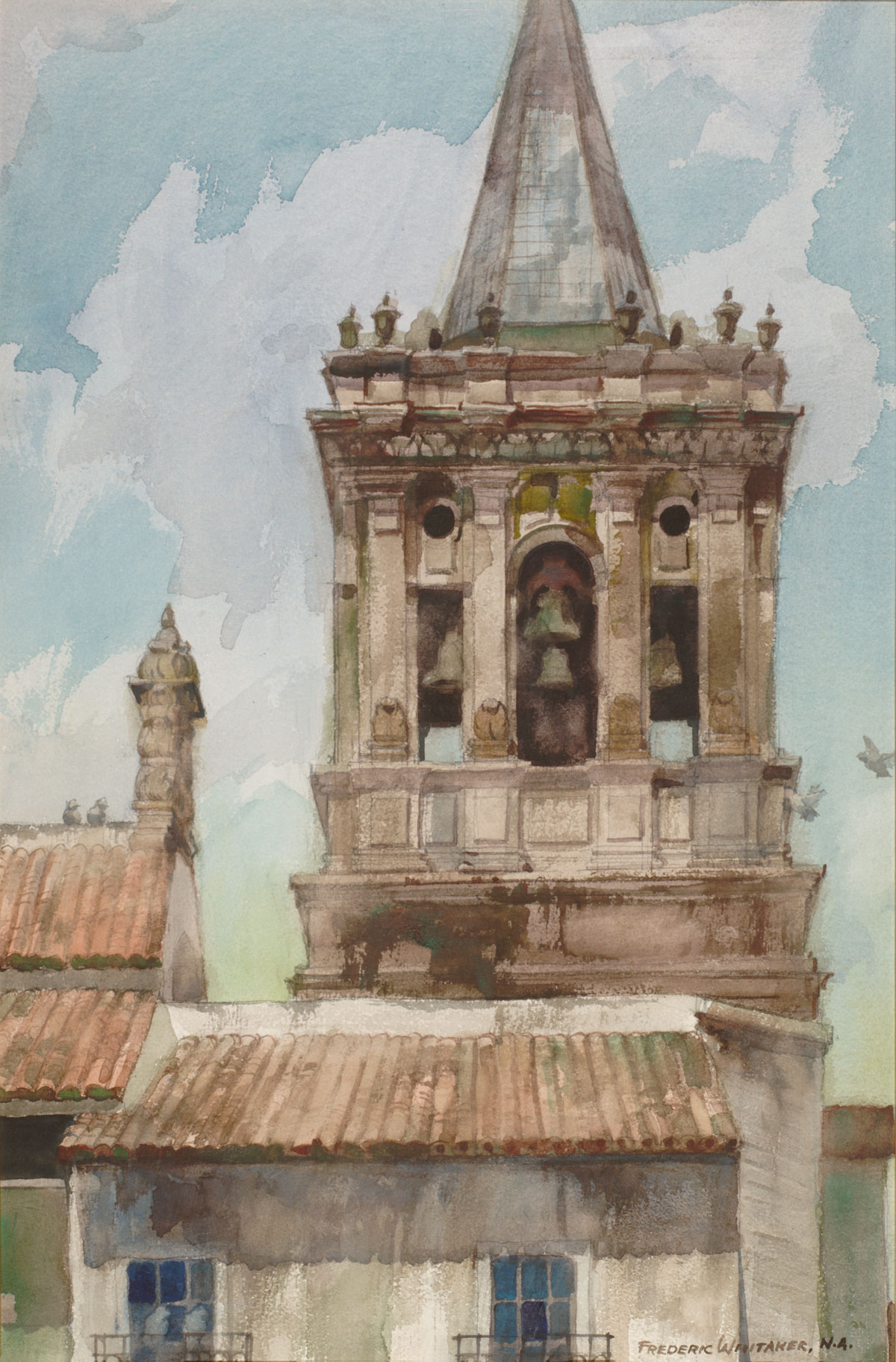 """Bell Tower, San Lucar"" 1971 © Frederic Whitaker N.A. 30x22 inches Watercolor"