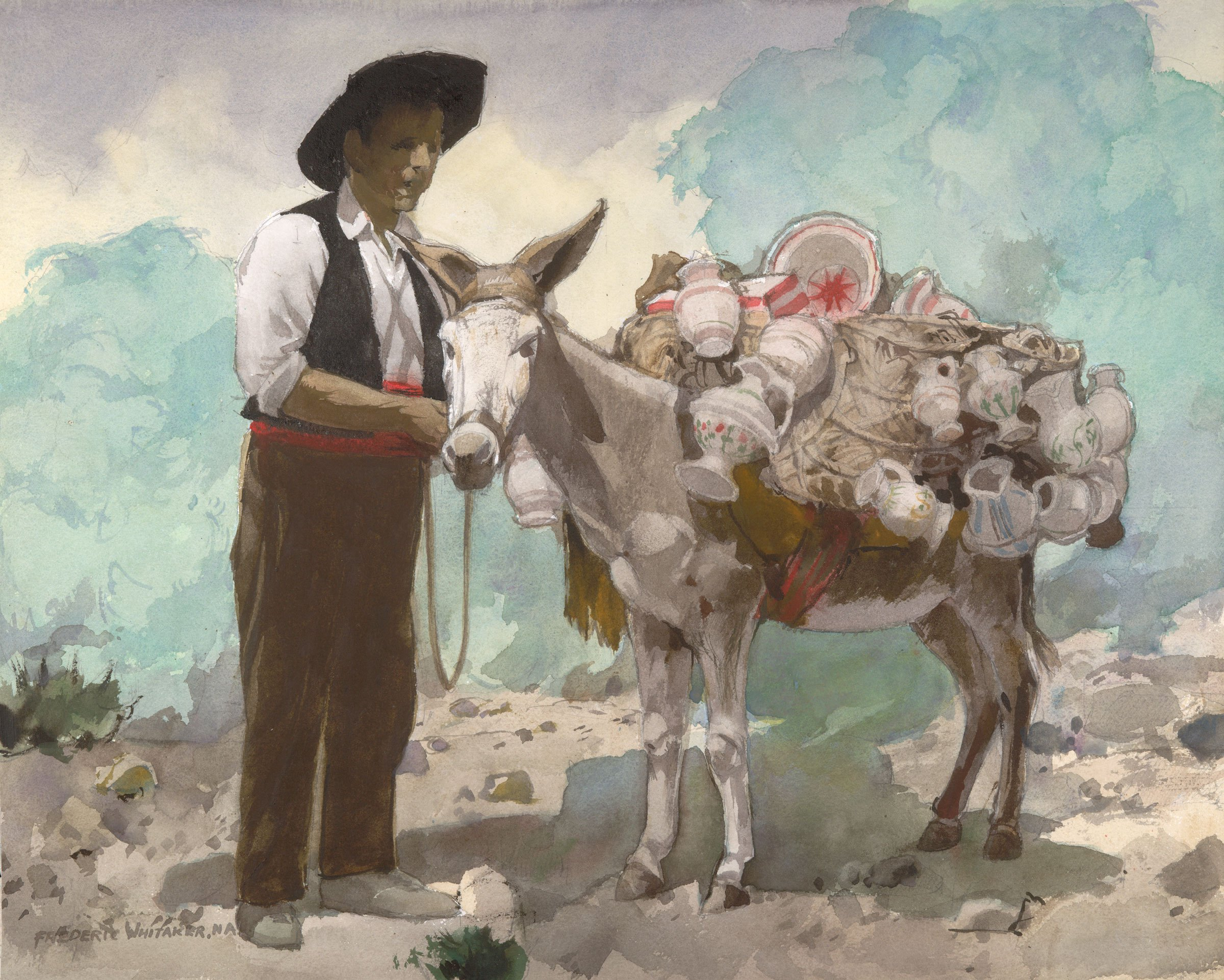"""""""Iberian, Self-Employed"""" 1972 © Frederic Whitaker N.A. 22x27.5 inches Watercolor"""