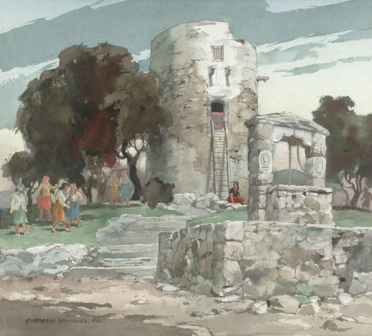 """""""Ladies Day At The Watch Tower"""" 1972 © Frederic Whitaker N.A. 22x24.5 Watercolor"""