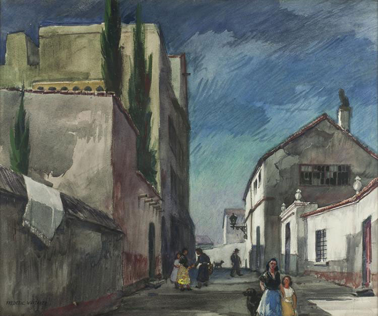 """Street in Granada"" © Frederic Whitaker  22x30 inches Watercolor"