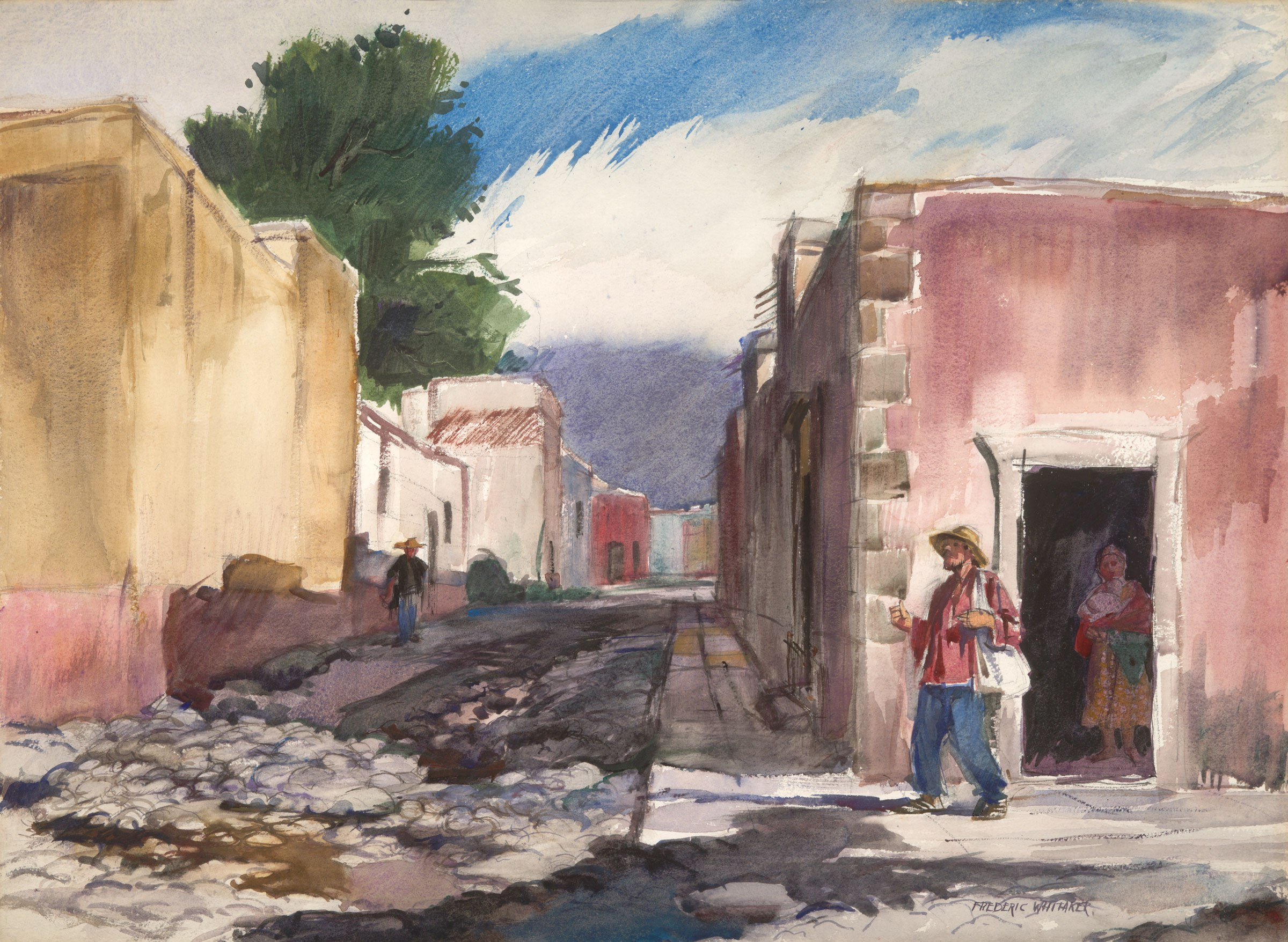 """The Street of San Idelfonso"" 1953 © Frederic Whitaker size unknown Watercolor FW"