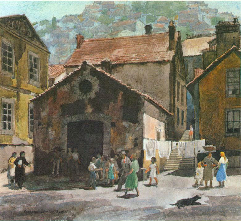 """""""The Old Town and the New"""" 1965 © Frederic Whitaker N.A.  23x25 inches  Watercolor"""