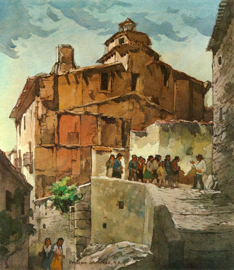 """Tour of the Ruins"" 1978 © Frederic Whitaker N.A.  30x22 inches Watercolor"