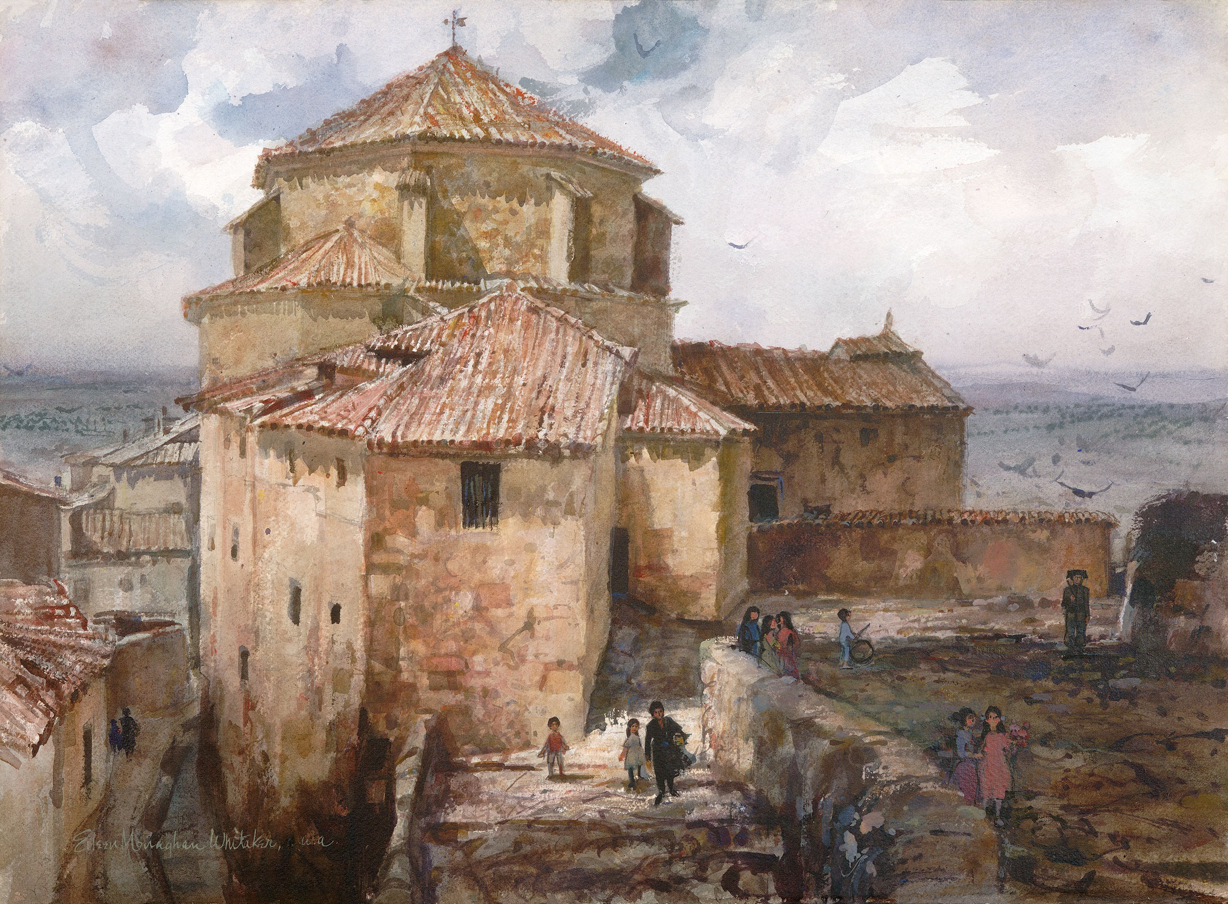 """Cuenca, Spain"" 1965 © Eileen Monaghan Whitaker A.N.A.  22x30 inches Watercolor"