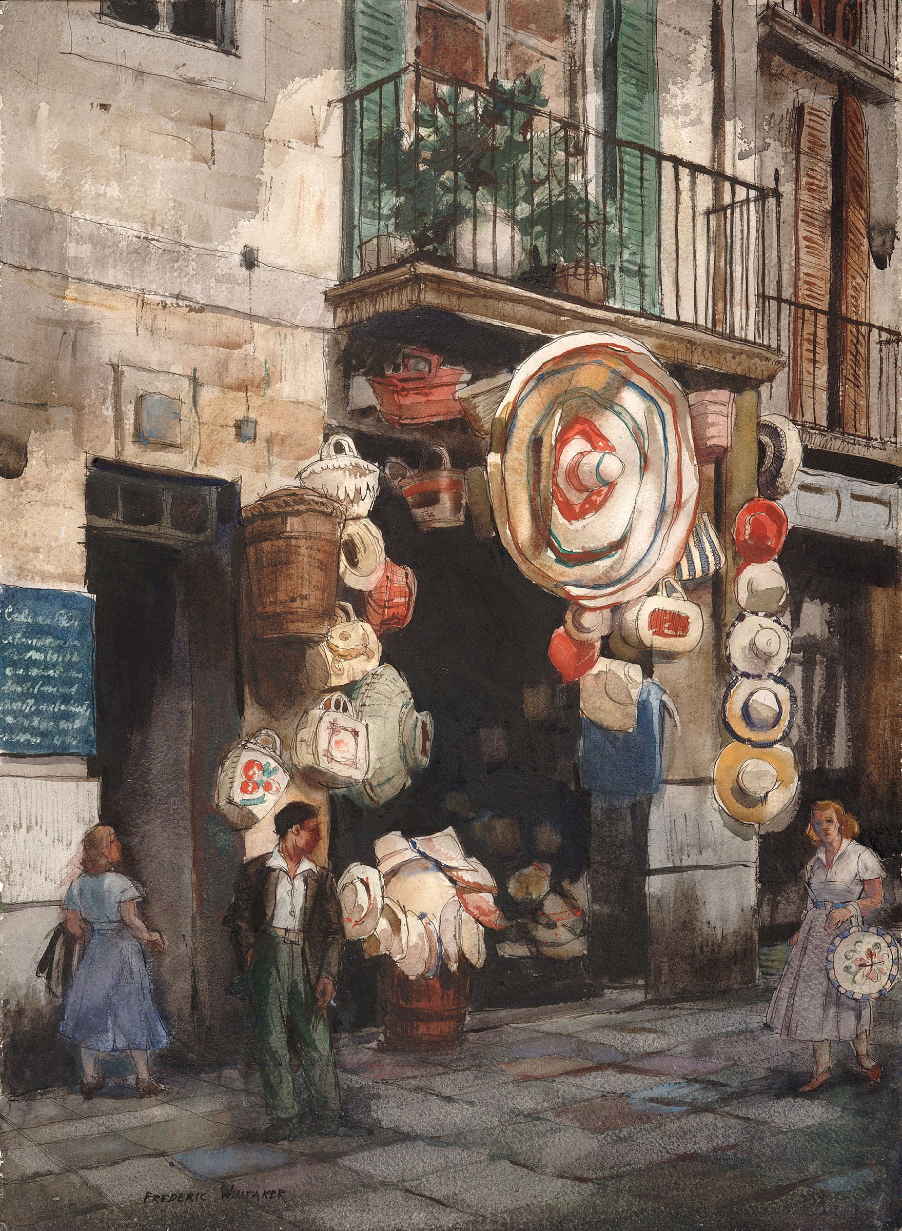 """Hats and Baskets"" 1964 © Frederic Whitaker 30x22 inches Watercolor"
