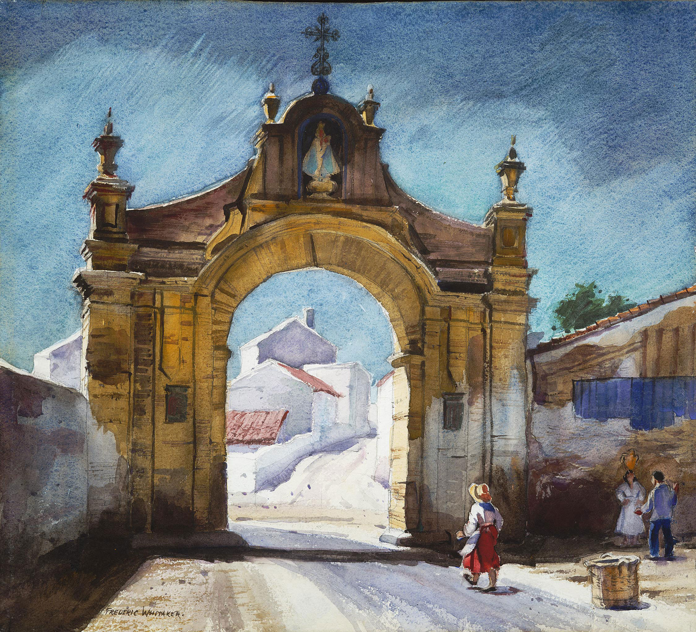 """Gateway to Antequera"" 1967 © Frederic Whitaker  22x24.5 inches Watercolor"