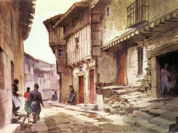 """Street in La Alberca"" unknown date © Frederic Whitaker 22x30 inches Watercolor"