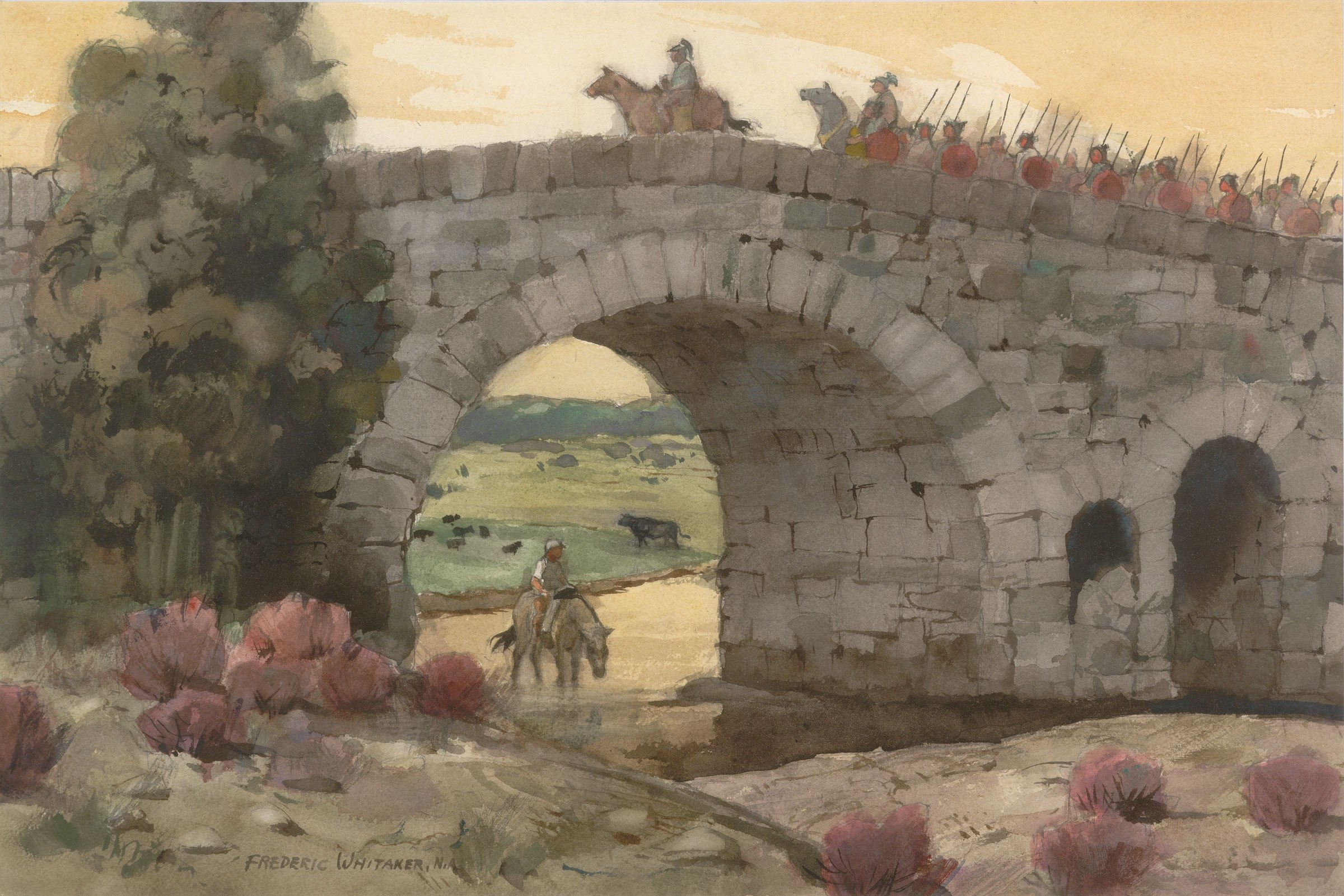 """""""The Romans Are Coming""""  date and size unknown © Frederic Whitaker N.A.  Watercolor"""