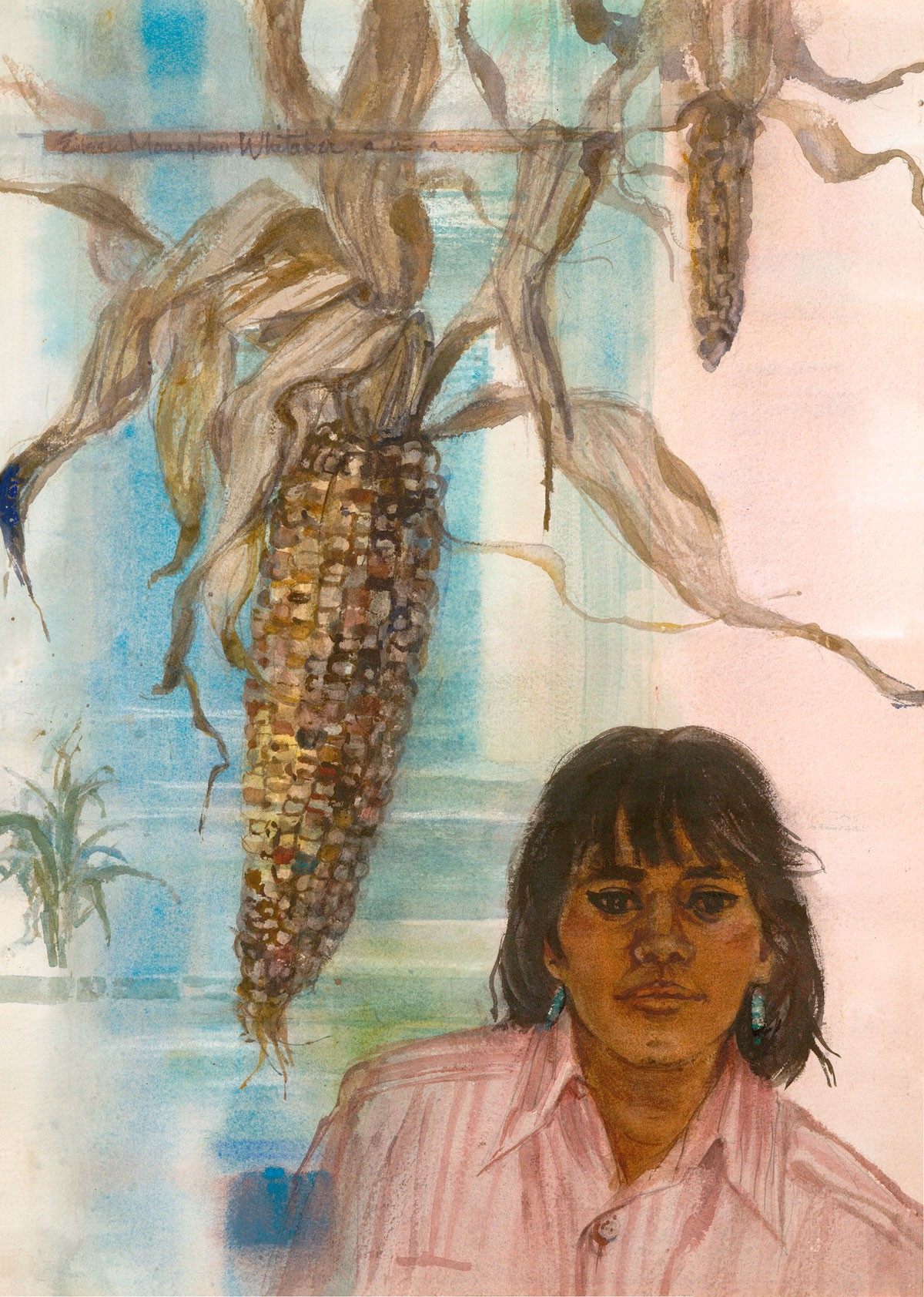 """""""Indian Corn Blue"""" © Eileen Monaghan Whitaker (date unknown) 22x16 inches Watercolor"""