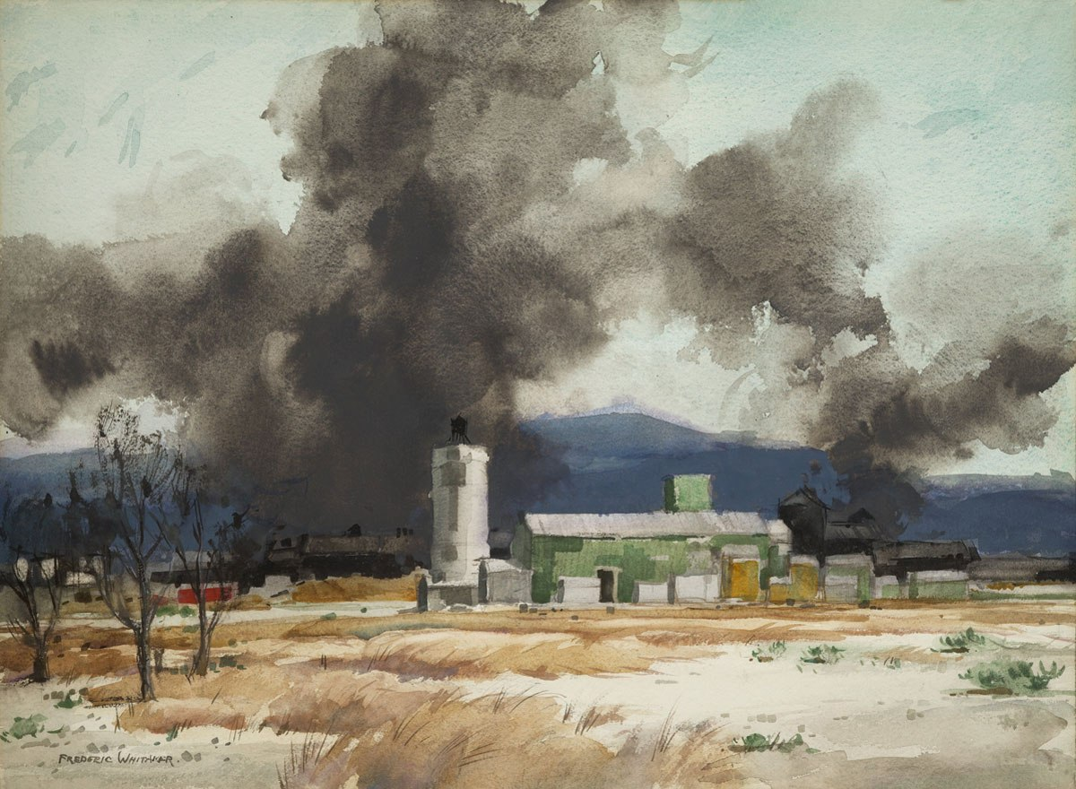 """""""Oil in the Desert"""" 1964 © Frederic Whitaker N.A. 22x30 inches Watercolor"""