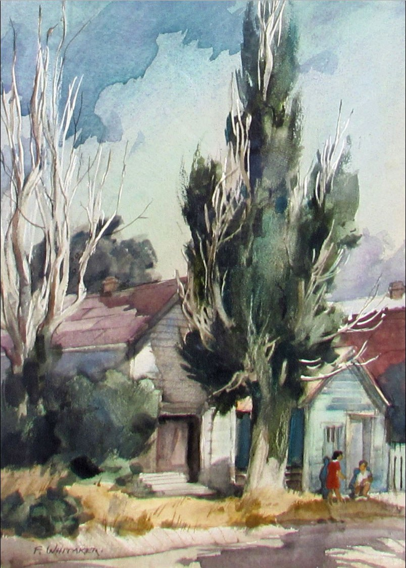 """""""Poplars"""" 1967 © Frederic Whitaker N.A.  22x16 inches Watercolor"""
