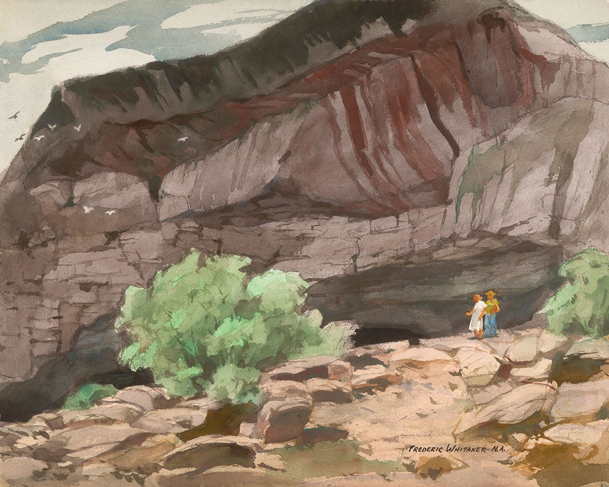 """""""The Speleologists"""" 1971 © Frederic Whitaker N.A. 22x27.5 inches Watercolor"""