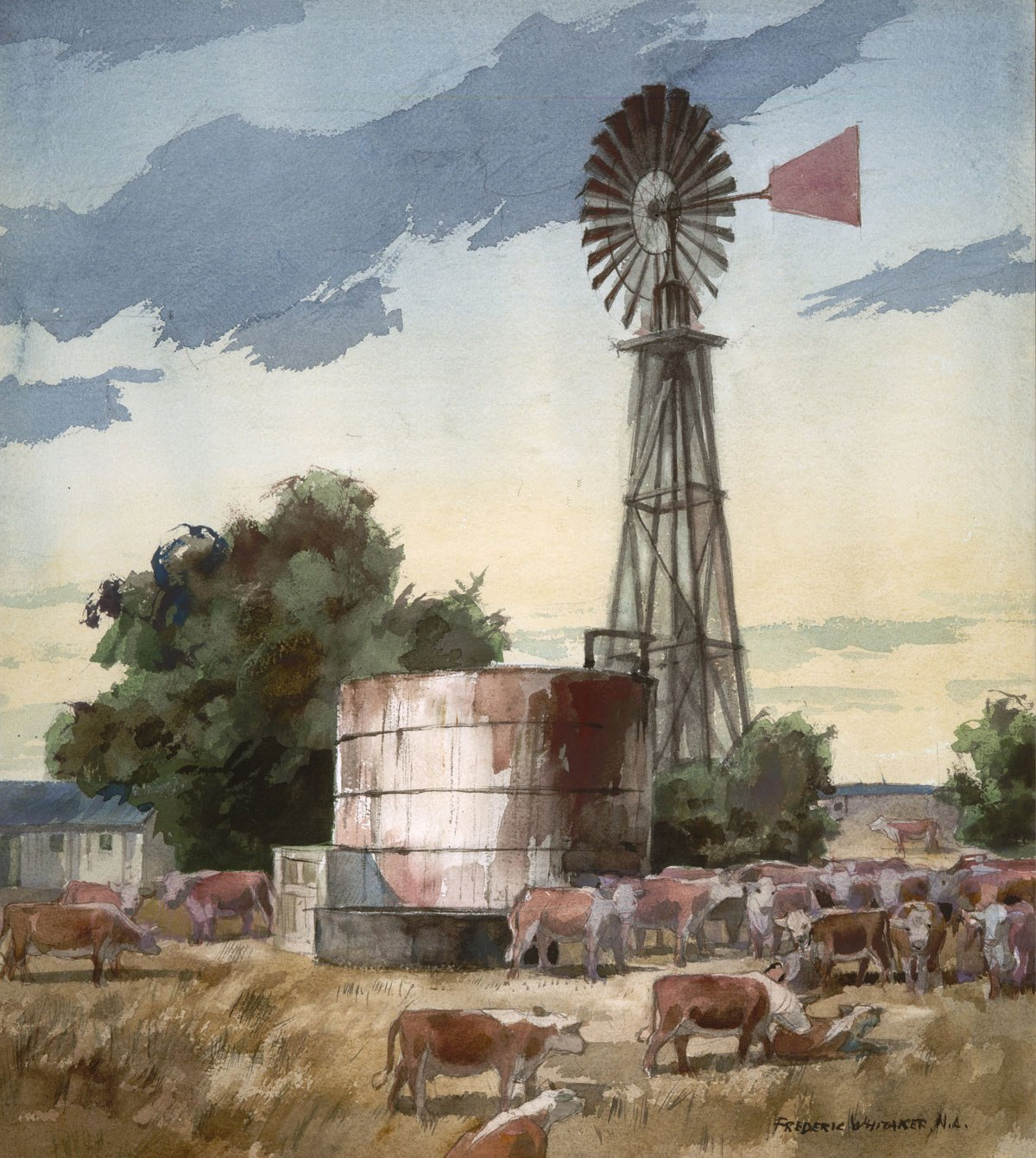 """""""The Watertank"""" 1971 © Frederic Whitaker N.A.  22x24 inches Watercolor"""