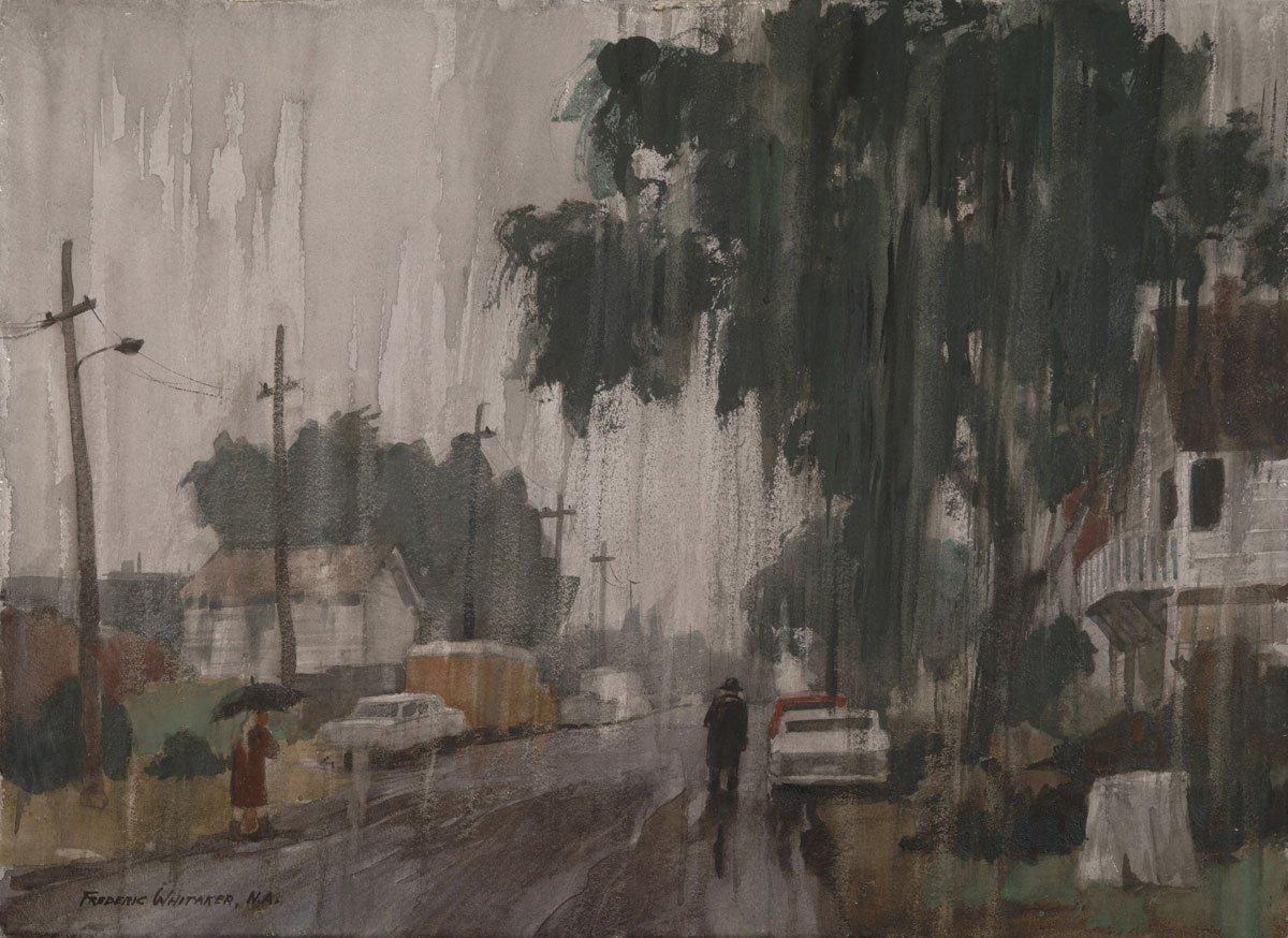 """Vertical Rain"" 1967 © Frederic Whitaker N.A.  22x30 Inches Watercolor"