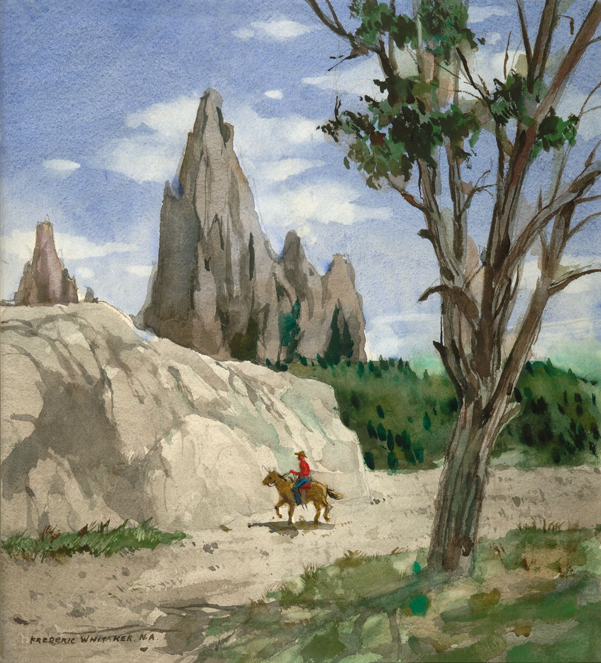 """""""Garden of the Gods No 7"""" 1975 © Frederic Whitaker N.A.  22x24.5 inches Watercolor"""