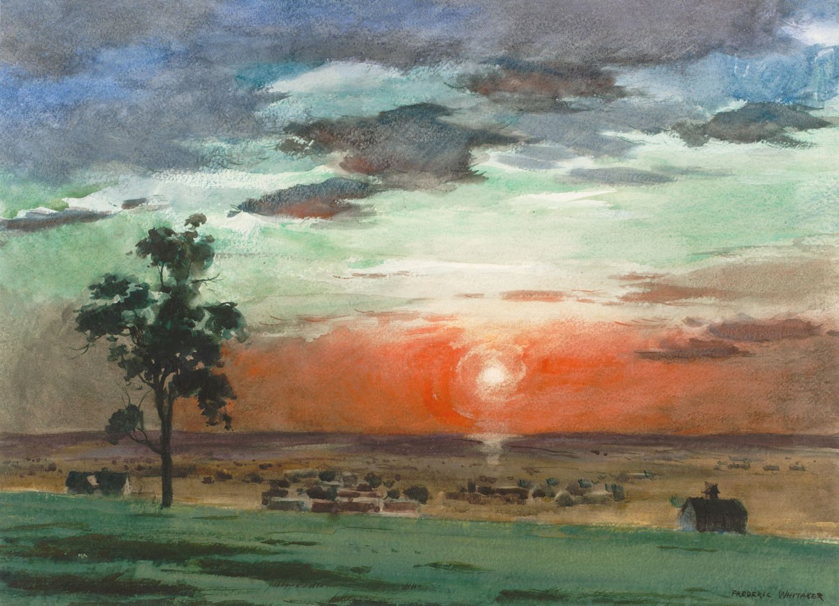"""""""Sunset on the Plains"""" © Frederic Whitaker N.A. Late '50s/early '60s 22x30 inches Watercolor"""