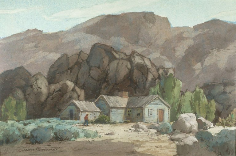 """""""The Rangers Cabin""""  1972 © Frederic Whitaker N.A. 20x30 inches Watercolor"""