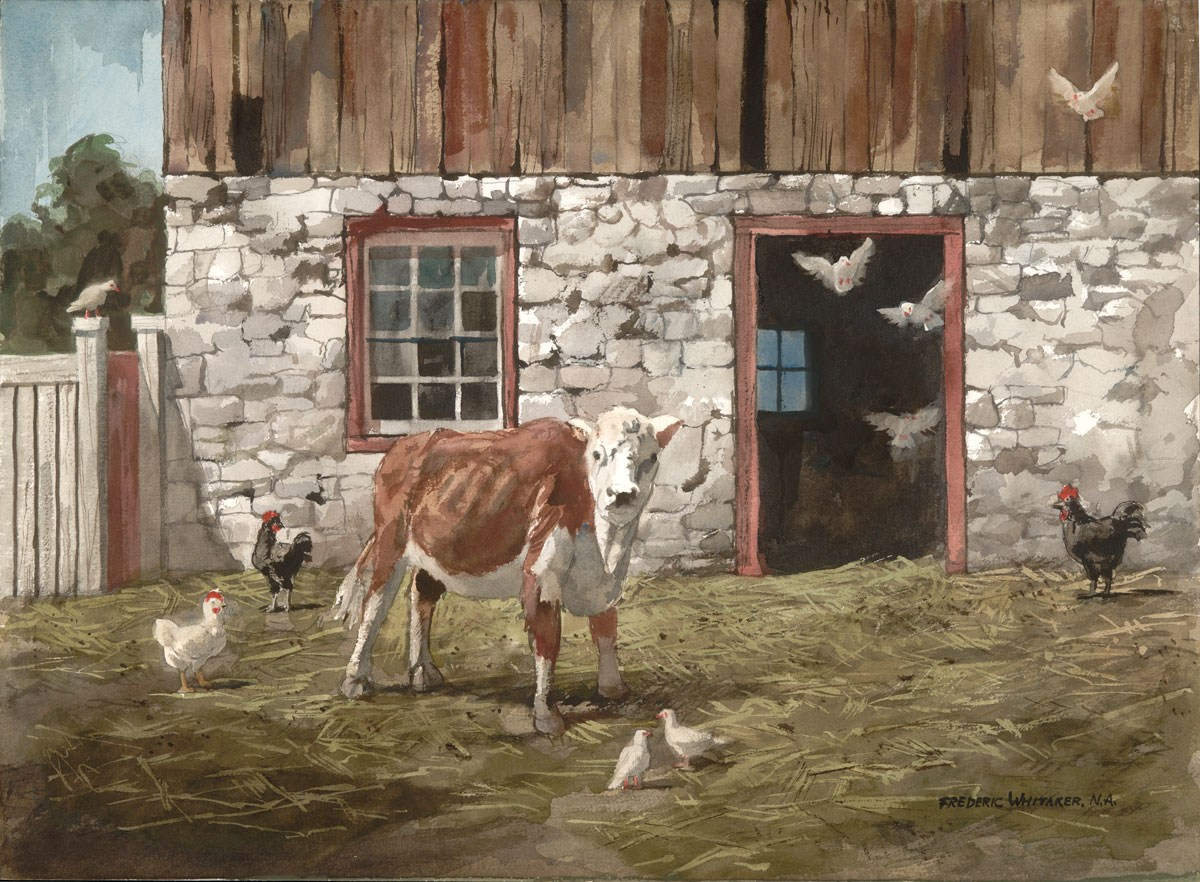 """""""Whitey and Friend"""" 1974 © Frederic Whitaker N.A.  22x30 inches Watercolor"""